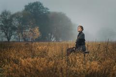 I Lift Up My Eyes (fehlfarben_bine) Tags: nikond800 sigmaart50mmf14 portrait woman nostalgic rural country field fog mist morning berlin trees mood autumn expression