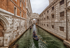 Bridge of Sighs, Venice (seanfarr) Tags: venice bridge sighs venetian venezia italy italia colours canal olympus outdoor omd em10 europe buildings water windows ponte dei sospiri rio di palazzo doges palace prigioni nuove lord byron history historic heritage veneto baroque style gondola gondoliers sky stone reflections