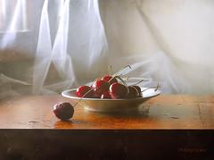 Cherries ... (MargoLuc) Tags: cherries red summer fruits sweet table wooden window natural light soft shadows stilllife indoor