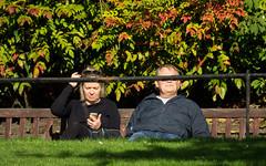 'Inner Vision' (Canadapt) Tags: woman man railing smartphone bench seated blocked autumn edinburgh scotland canadapt