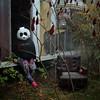 Menacing Panda (interrailing) Tags: ohio menacingpanda mask panda eagle abandoned trailerpark quarry