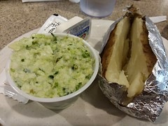 Cole Slaw And Potato. (dccradio) Tags: lumberton nc northcarolina robesoncounty inside indoors pier41 restaurant eatout eat meal food plate coleslaw slaw foil aluminumfoil tinfoil potato bakedpotato sourcream butter glenviewfarms landolakes lunch dinner supper samsung galaxy smj727v j7v cellphone cellphonepicture