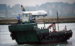 Lufthansa 747 'D-ABVH' (Longreach - Jonathan McDonnell) Tags: scan scanfromaslide lufthansa boeing 747 747400 747430 hongkong vhhh 1990s kaitak junk boat 1998 dabvh cargoboat