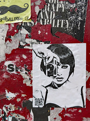 KOROLKOVAS' VALENTINA 9 (TheMachineStops) Tags: 2017 outdoor nyc newyorkcity manhattan soho sticker red fire alarm fdny callbox camera rangefinder woman face alexkorolkovas qrcode squarebarcode matrixbarcode quickresponsecode saatchiart streetart urbanart