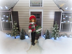 Decorating the house for Christmas (Foxy Belle) Tags: tammy doll vintage ornament ideal red plaid winter fur trim lowes display lights house snow trees bottle brush diorama 16 scale playscale shutters door siding exterior christmas