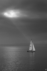 Sailing (tzevang.com) Tags: sailing bythesea sailboat bwseascape seascape seawater sun clouds greece