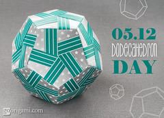 Happy Dodecahedron Day! (Maria Sinayskaya) Tags: folded fuseunitorigamiessence isbn4817081570 isbn9784817081575 kusudama modularorigami origami origamikusudama origamipolyhedron square tomokofuse wrappingpaper