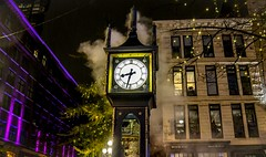 It's about high 'time' (Christie : Colour & Light Collection) Tags: timepiece steamclock time raining rainy rain gastownsteamclock worldsfirststeamclock gastown vancouver bc canada britishcolumbia weathered thegastownsteamclock raymondlsaunders horologist westminsterchimes steam cityofvancouver nightphotography photography