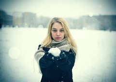 For The Heart I Once Had (Pawel Kozera) Tags: girl snow young blonde beauty day eyes woman blue blizzard white winter gift present fragile ice model portrait portraiture bokeh