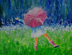 """Rain Dance"" (BKHagar *Kim*) Tags: bkhagar art artwork artday painting paint acrylic bright girl umbrella dance rain splash outdoors pink"