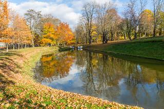Autumn reflection on the Lake in The Park, Tallinn,Estonia