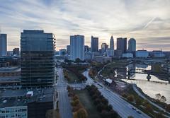 Sunrise Over the City (player_pleasure) Tags: mavicpro drone cityscape columbus skyline buildings architecture river scioto ariel
