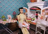 1. In her craft room (Foxy Belle) Tags: doll dollhouse diorama 16 sew make diy playscale barbie hobby miniature scale room scene sewing machine craft vintage ponytail 3 yellow pak pajamas home