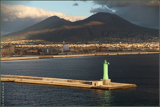 Lighthouse, Mount Vesuvius and Naples at Golden Hour