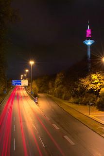 Light trails Europaturm Frankfurt