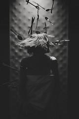 j (Lucas.Ross) Tags: portrait surreal bw black white flying fork spoon half body lady girl hair strobist flash conceptual noise indoor dark