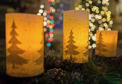 Holidaze (johngoucher) Tags: candle candles holidays christmas thanksgiving lights bokeh christmaslights pine pinecone deckthehalls