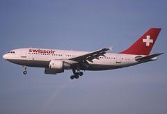 17aa - Swissair Airbus A310-300; HB-IPK@ZRH;30.03.1998 (Aero Icarus) Tags: zrh zürichflughafen zurichairport zürichkloten lszh plane avion slidescan aircraft flugzeug