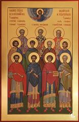 Собор святых бессребреников, целителей и чудотворцев, 75х60см. храм архистр.Михаила