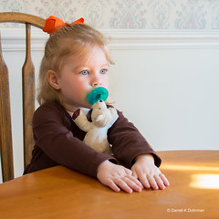 Patiently Waiting (DaxxKD) Tags: girl dress patient sunlight bow thanksgiving table toy bear hands chair ddd waiting pose dinner time child eyes