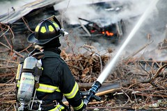 HITTING THE FIRE (MIKECNY) Tags: fire firefighter devastation destruction hose water cohoes
