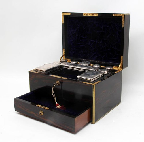 19th c. Lady's English Voyages de Necessaries Case of Calamander Wood w/ Brass Fittings ($980.00)