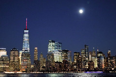 Moon Over Manhattan (chantsign) Tags: moon manhattan worldtradecenter newyorkcity lights river water blue citiscape