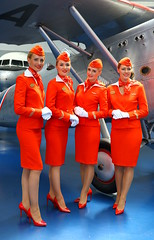 Russian dolls (Aeroflot) (Manuel Negrerie) Tags: aeroflot stewardess woman uniform airlines russia red su photography aviation planes museum canon