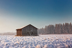 Morning Mist And An Old Barn House (k009034) Tags: 500px mist sky sunrise morning forest winter nature travel old building snow fields woods agriculture barn wooden farming no people coldness nordic countries finland tranquil scene scandinavia copy space oulainen matkaniva destinations teamcanon