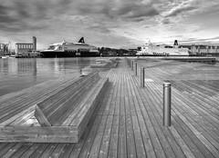 Seaside Composition (bjorbrei) Tags: seaside quay ships ship harbor harbour monochrome water sky sørenga oslo norway