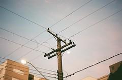 (Maria Maruyama) Tags: nikonfm2 kodak200 colorplus200 iso400 filmisnotdead filmpeople filmphotography 35mm nikon brazil campinas concrete light poste fios moon