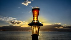 Hail to the Mighty Ale (Christie : Colour & Light Collection) Tags: beverage ale beer drink sunset seashore light evening nikon fun clouds oceanview ocean horizon thirst thirstquenching