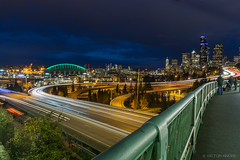 Seattle evening skyline (maestro17ca) Tags: joserizalbridge seattle downtownseattle bluehour beaconhill washington seattleatnight lighttrails cenurylinkfield safecofield skyline skyscrapers bridge nightlights eveninginseattle clouds highway condos architecture nightphotography longexposure streetphotography cityscape sonya6000