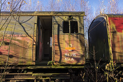 Derelict Mail Train (simonannable) Tags: train toton sidings obsolete derelict old totonsidings britishrail trains history rollingstock abandoned royalmail mailtrain bygone lost forsaken forlorn 316 93 cab cabin graveyard wreck wrecked ruined weatherbeaten secret places railway railroad railways