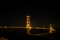 Golden Gate & Plough (Big Dipper) (Gavmonster) Tags: gswphotography nikon d7500 nikond7500 dslr sanfrancisco california usa america unitedstates goldengatebridge bridge suspension sky stars night longexposure 30seconds orange red dark lights bigdipper plough asterism