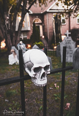 Graveyard Halloween House Decorations In Nolansville, Tennessee (Peter Greenway) Tags: pumpkins fence jackolanterns decorations urban trickortreat flickr graveyard celebration residential skull allhallowseve inflatables spooky tennessee halloween
