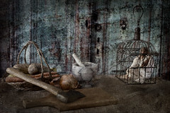 Ingredients for Mrs. Ogre's Special Stew (lclower19) Tags: atsh ingredients sixwordstory 522017 scary 4552 texture composite hatchet cage potatoes carrots onions mortarpestel marble lc person axe