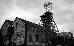 New Cook's Kitchen Shaft, South Crofty (Rogpow) Tags: cornwall mine pool southcroftymine camborne cornishmines cornishmining cornishminingworldheritagesite tinmine tin copper coppermine headgear headframe mining newcookskitchen shaft mono blackandwhite