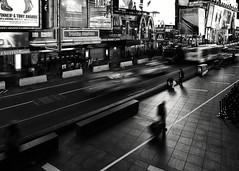 the City that never sleeps is Sleeping (Dj Poe) Tags: nyc ny newyorkcity newyork city street streets late night candid timessquare midtown manhattan andrewmoher 2017 djpoe leica monochrom monochrome leicammonochrom motion blur bw blackandwhite blancoynegro cab bus people