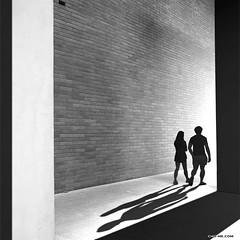 SHADOWS' FATE (CHO-ME) Tags: wall brick couple hallway architecture singapore chome