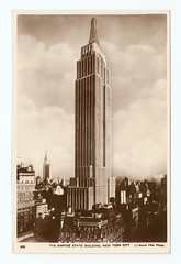 New York City - Empire State Building. And Some Interesting Facts (pepandtim) Tags: postcard old early nostalgia nostalgic empire state building new york city manhattan chrysler genuine photograph printed germany unusual photographs reproduction company park place john thomson farm stream sunfish pond waldorf astoria hotel depression great 1931 telephone wiring 1972 stairs pentagon 28071945 1945 plane fog elevator operator betty lou oliver survived plunge storeys stories record suicide 1979 elvita adams broken hip flatiron 23skidoo 54esb98 acme pa
