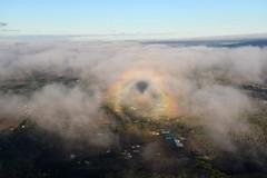 Balloon View (prmprm) Tags: rainbow balloon field clouds trees wind hot air farm buildings shadow