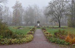 Memorial to Queen Luise of Prussia (:Linda:) Tags: germany thuringia town hildburghausen park baretree mist path memorial tree