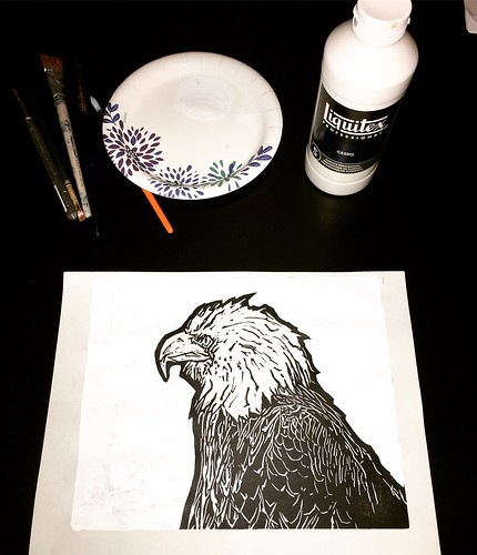 "Painted gesso around my bald eagle before the red paint • <a style=""font-size:0.8em;"" href=""http://www.flickr.com/photos/57802765@N07/37702631575/"" target=""_blank"">View on Flickr</a>"