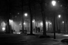 A foggy december night - Reggio Emilia - December 2010 (cava961) Tags: fog reggioemilia night light analogue analogico monochrome monocromo bianconero bw