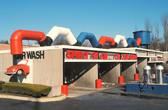 Spirit of America Car Wash - Schaumburg, Illinois (Cragin Spring) Tags: illinois il midwest unitedstates usa unitedstatesofamerica carwash car vw volkswagen building watertower spiritofamericacarwash red white blue schaumburg schaumburgil schaumburgillinois
