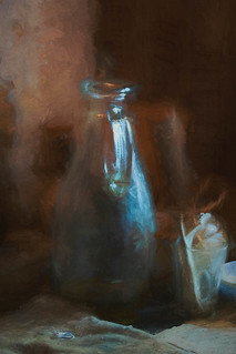 Glass jug and cup