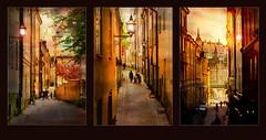 Stockholm, Old town (BirgittaSjostedt) Tags: triptych dark alley city town stockholm beauty paint texture birgittasjostedt magicunicornverybest ie