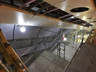 Installation of glass tile reveal in LIRR concourse escalator wellway 3. (CM014B 11-28-2017)