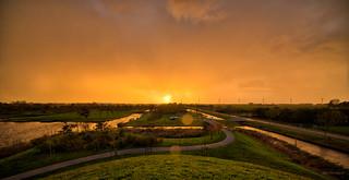 Sonnenuntergang in den Niederlanden.